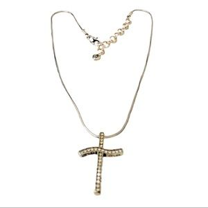 Brighton necklace cross with crystals. Silver like